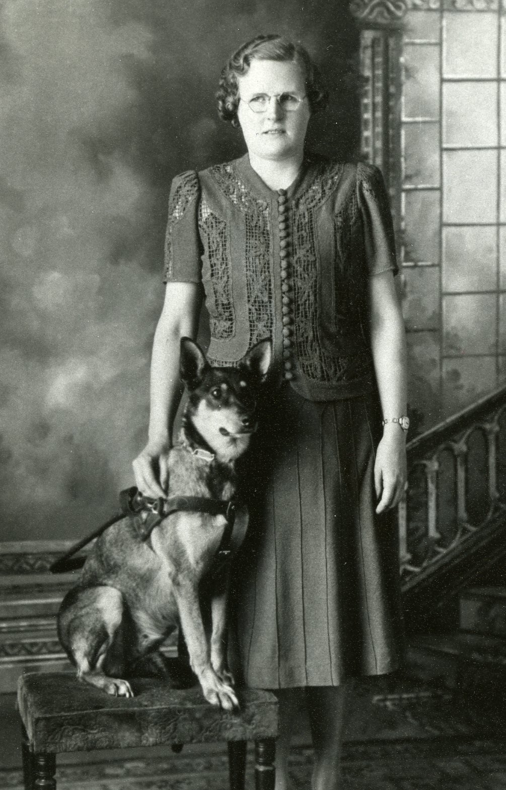 Viola Eid,1932 Concordia graduate with her seeing eye dog