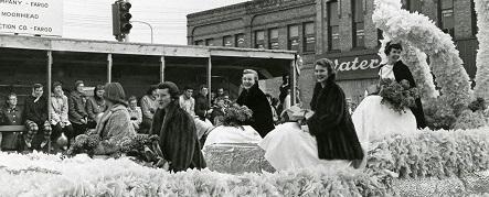 Homecoming Queen Nancy Jensen and her attendants, 1957